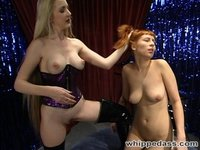 Redhead Rachel dances, strips and subs for Chanta