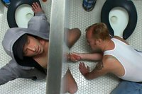 Cameron Adams is bound, beaten, humiliated and fucked in a public restroom.