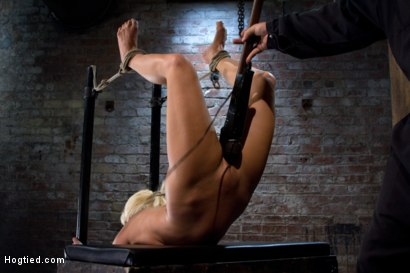 Former 5-time National Romanian Gymnast, gets bound and contorted into a back breaking tie.  Ass-hook is inserted, and she is made to cum, over and..