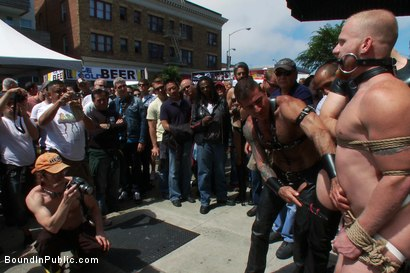 Photo number 7 from Dore Alley Pig shot for Bound in Public on Kink.com. Featuring Nick Moretti and Luke Riley in hardcore BDSM & Fetish porn.