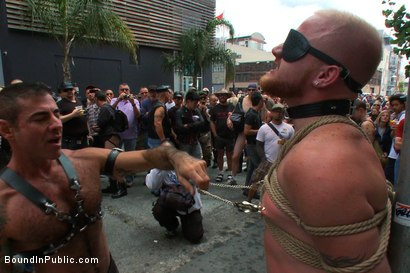 Photo number 1 from Dore Alley Pig shot for Bound in Public on Kink.com. Featuring Nick Moretti and Luke Riley in hardcore BDSM & Fetish porn.
