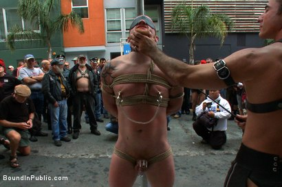 Photo number 2 from Dore Alley Pig shot for Bound in Public on Kink.com. Featuring Nick Moretti and Luke Riley in hardcore BDSM & Fetish porn.