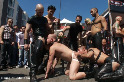 Photo number 10 from Dore Alley Pig shot for Bound in Public on Kink.com. Featuring Nick Moretti and Luke Riley in hardcore BDSM & Fetish porn.