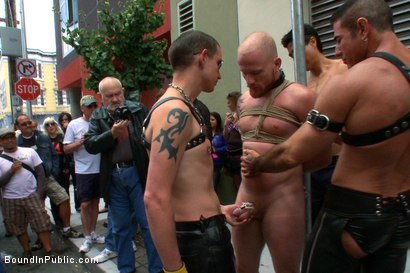 Photo number 3 from Dore Alley Pig shot for Bound in Public on Kink.com. Featuring Nick Moretti and Luke Riley in hardcore BDSM & Fetish porn.