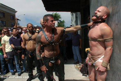 Photo number 6 from Dore Alley Pig shot for Bound in Public on Kink.com. Featuring Nick Moretti and Luke Riley in hardcore BDSM & Fetish porn.