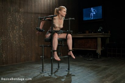Photo number 1 from Bound in a custom metal bondage rig.<br> Made to cum, she can't stop the orgasms that rip though her shot for Device Bondage on Kink.com. Featuring Payton Bell in hardcore BDSM & Fetish porn.