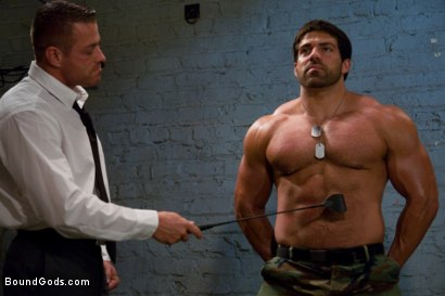 Photo number 2 from Don't Ask Don't Tell shot for Bound Gods on Kink.com. Featuring Vince Ferelli and Tyler Saint in hardcore BDSM & Fetish porn.