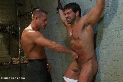 Photo number 5 from Don't Ask Don't Tell shot for Bound Gods on Kink.com. Featuring Vince Ferelli and Tyler Saint in hardcore BDSM & Fetish porn.