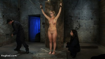 Photo number 2 from Califorina Blond bound spread<br>Pulled to the breaking point and made to cum HARD! shot for Hogtied on Kink.com. Featuring Tara Lynn Foxx and Isis Love in hardcore BDSM & Fetish porn.