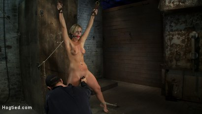Photo number 11 from Califorina Blond bound spread<br>Pulled to the breaking point and made to cum HARD! shot for Hogtied on Kink.com. Featuring Tara Lynn Foxx and Isis Love in hardcore BDSM & Fetish porn.