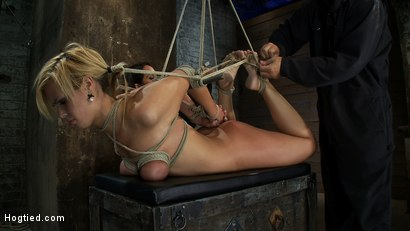 Photo number 6 from Category 5 Suspension, Made to Suck Cock and Cum<br>All Tying on Screen, Amazing live rope bondage! shot for Hogtied on Kink.com. Featuring Tara Lynn Foxx and Isis Love in hardcore BDSM & Fetish porn.