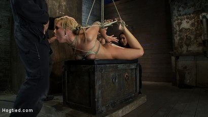 Photo number 10 from Category 5 Suspension, Made to Suck Cock and Cum<br>All Tying on Screen, Amazing live rope bondage! shot for Hogtied on Kink.com. Featuring Tara Lynn Foxx and Isis Love in hardcore BDSM & Fetish porn.