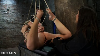 Photo number 11 from Category 5 Suspension, Made to Suck Cock and Cum<br>All Tying on Screen, Amazing live rope bondage! shot for Hogtied on Kink.com. Featuring Tara Lynn Foxx and Isis Love in hardcore BDSM & Fetish porn.