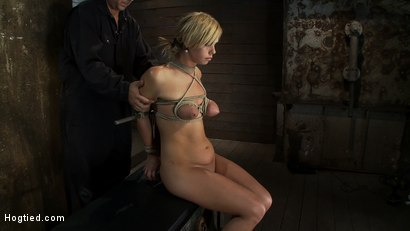Photo number 4 from Category 5 Suspension, Made to Suck Cock and Cum<br>All Tying on Screen, Amazing live rope bondage! shot for Hogtied on Kink.com. Featuring Tara Lynn Foxx and Isis Love in hardcore BDSM & Fetish porn.