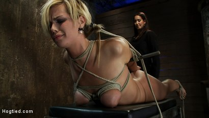 Photo number 5 from Category 5 Suspension, Made to Suck Cock and Cum<br>All Tying on Screen, Amazing live rope bondage! shot for Hogtied on Kink.com. Featuring Tara Lynn Foxx and Isis Love in hardcore BDSM & Fetish porn.