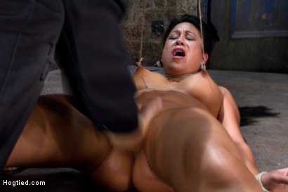 Photo number 8 from Tied and Stretch Huge Nipples<br>Brutal Squirting Orgasms<br>Screaming Never Sounded so Good. shot for Hogtied on Kink.com. Featuring Kayme Kai in hardcore BDSM & Fetish porn.