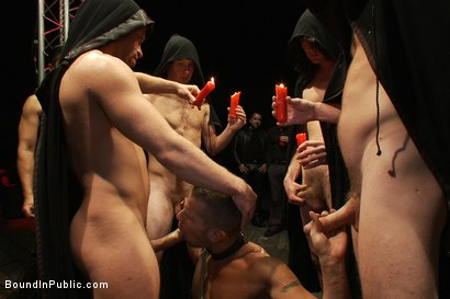 Photo number 4 from The Sacrificial Cum Whore - Halloween Update shot for Bound in Public on Kink.com. Featuring Shane Frost, Tristan Jaxx and Christian Wilde in hardcore BDSM & Fetish porn.