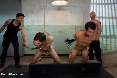 Photo number 2 from slyman vs deap - Live Shoot shot for Bound Gods on Kink.com. Featuring Brenn Wyson, Josh Slyman, Dylan Deap and Van Darkholme in hardcore BDSM & Fetish porn.