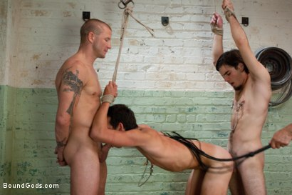 Photo number 8 from slyman vs deap - Live Shoot shot for Bound Gods on Kink.com. Featuring Brenn Wyson, Josh Slyman, Dylan Deap and Van Darkholme in hardcore BDSM & Fetish porn.