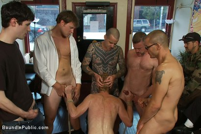 Photo number 11 from Vennue and The Gay Mafia shot for Bound in Public on Kink.com. Featuring Vennue Longhorn and Brenn Wyson in hardcore BDSM & Fetish porn.