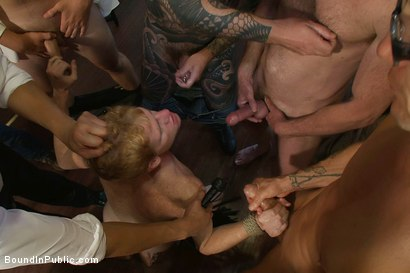 Photo number 12 from Vennue and The Gay Mafia shot for Bound in Public on Kink.com. Featuring Vennue Longhorn and Brenn Wyson in hardcore BDSM & Fetish porn.