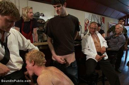 Photo number 3 from Vennue and The Gay Mafia shot for Bound in Public on Kink.com. Featuring Vennue Longhorn and Brenn Wyson in hardcore BDSM & Fetish porn.