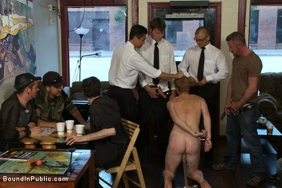 Photo number 1 from Vennue and The Gay Mafia shot for Bound in Public on Kink.com. Featuring Vennue Longhorn and Brenn Wyson in hardcore BDSM & Fetish porn.