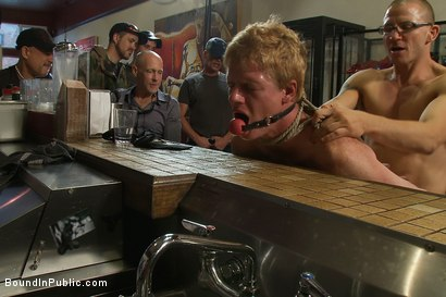 Photo number 10 from Vennue and The Gay Mafia shot for Bound in Public on Kink.com. Featuring Vennue Longhorn and Brenn Wyson in hardcore BDSM & Fetish porn.
