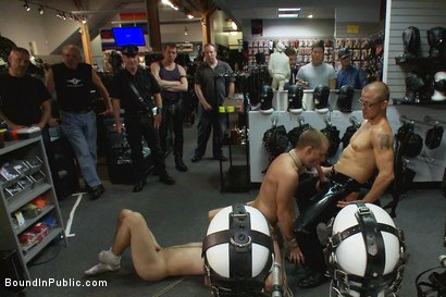 Photo number 8 from Young stud is bound for the first time at Mr. S Leather shot for Bound in Public on Kink.com. Featuring Sebastian Keys and Brenn Wyson in hardcore BDSM & Fetish porn.