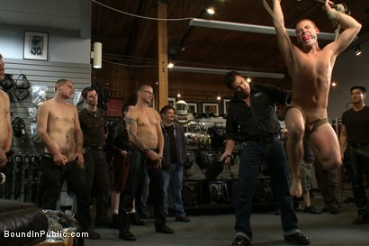 Photo number 6 from Young stud is bound for the first time at Mr. S Leather shot for Bound in Public on Kink.com. Featuring Sebastian Keys and Brenn Wyson in hardcore BDSM & Fetish porn.