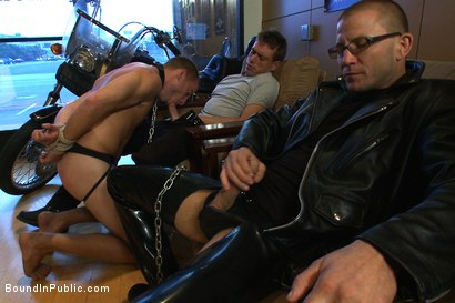 Photo number 2 from Young stud is bound for the first time at Mr. S Leather shot for Bound in Public on Kink.com. Featuring Sebastian Keys and Brenn Wyson in hardcore BDSM & Fetish porn.