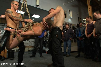 Photo number 12 from Young stud is bound for the first time at Mr. S Leather shot for Bound in Public on Kink.com. Featuring Sebastian Keys and Brenn Wyson in hardcore BDSM & Fetish porn.