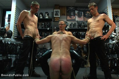 Photo number 9 from Young stud is bound for the first time at Mr. S Leather shot for Bound in Public on Kink.com. Featuring Sebastian Keys and Brenn Wyson in hardcore BDSM & Fetish porn.