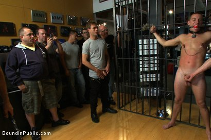 Photo number 3 from Young stud is bound for the first time at Mr. S Leather shot for Bound in Public on Kink.com. Featuring Sebastian Keys and Brenn Wyson in hardcore BDSM & Fetish porn.