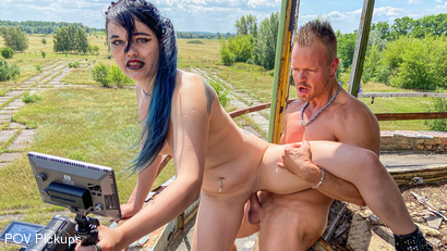 Goth Teen Slut Doreen Gets Dicked Down in a Former Airfield!