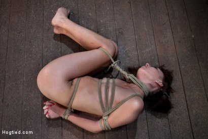Photo number 13 from Sexy Emma Haize totally helpless as cock is jammed down her throat<br> Left on the floor to suffer shot for Hogtied on Kink.com. Featuring Emma Haize in hardcore BDSM & Fetish porn.