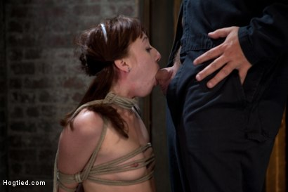 Photo number 8 from Sexy Emma Haize totally helpless as cock is jammed down her throat<br> Left on the floor to suffer shot for Hogtied on Kink.com. Featuring Emma Haize in hardcore BDSM & Fetish porn.