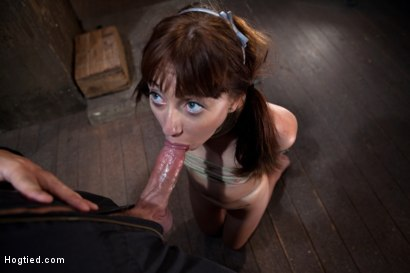 Photo number 10 from Sexy Emma Haize totally helpless as cock is jammed down her throat<br> Left on the floor to suffer shot for Hogtied on Kink.com. Featuring Emma Haize in hardcore BDSM & Fetish porn.