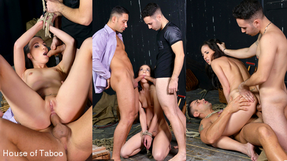 Captured In The Attic: Two Studs Double Penetrate Brunette Teen