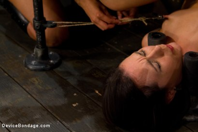 Photo number 10 from Q:  How do you make a tough, sexy girl scream in total agony? shot for Device Bondage on Kink.com. Featuring Isis Love and Sinn Sage in hardcore BDSM & Fetish porn.