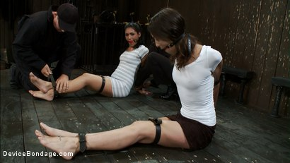 Photo number 2 from Double zippers and a double Sybians<br> These girls are made to cum until they forget their names shot for Device Bondage on Kink.com. Featuring Miss Jade Indica, Isis Love and Amber Rayne in hardcore BDSM & Fetish porn.