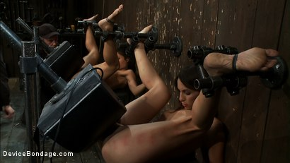 Photo number 14 from Double zippers and a double Sybians<br> These girls are made to cum until they forget their names shot for Device Bondage on Kink.com. Featuring Miss Jade Indica, Isis Love and Amber Rayne in hardcore BDSM & Fetish porn.