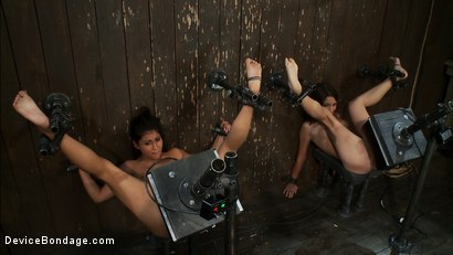 Photo number 10 from Double zippers and a double Sybians<br> These girls are made to cum until they forget their names shot for Device Bondage on Kink.com. Featuring Miss Jade Indica, Isis Love and Amber Rayne in hardcore BDSM & Fetish porn.