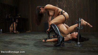Photo number 10 from One girl is stretched to the limit of her body<br> The other takes the cane and takes it hard! shot for Device Bondage on Kink.com. Featuring Miss Jade Indica, Isis Love and Amber Rayne in hardcore BDSM & Fetish porn.