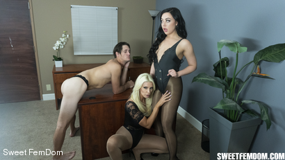 Photo number 2 from Double Pegging Office Work shot for Sweet FemDom on Kink.com. Featuring Brittany Andrews, Whitney Wright and Tony Orlando in hardcore BDSM & Fetish porn.