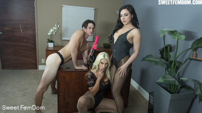 Photo number 3 from Double Pegging Office Work shot for Sweet FemDom on Kink.com. Featuring Brittany Andrews, Whitney Wright and Tony Orlando in hardcore BDSM & Fetish porn.