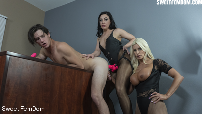 Photo number 6 from Double Pegging Office Work shot for Sweet FemDom on Kink.com. Featuring Brittany Andrews, Whitney Wright and Tony Orlando in hardcore BDSM & Fetish porn.