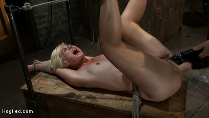 Photo number 12 from Hot blond's first time being made to squirt! <br>Totally helpless, bound, & cumming so much it hurts shot for Hogtied on Kink.com. Featuring Chloe Camilla in hardcore BDSM & Fetish porn.