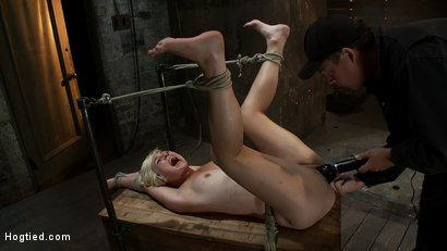 Photo number 13 from Hot blond's first time being made to squirt! <br>Totally helpless, bound, & cumming so much it hurts shot for Hogtied on Kink.com. Featuring Chloe Camilla in hardcore BDSM & Fetish porn.