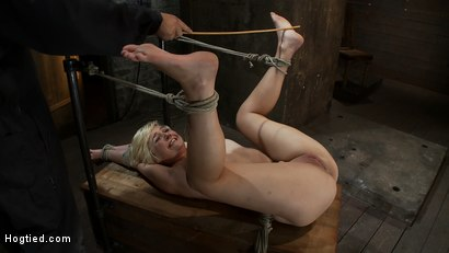 Photo number 5 from Hot blond's first time being made to squirt! <br>Totally helpless, bound, & cumming so much it hurts shot for Hogtied on Kink.com. Featuring Chloe Camilla in hardcore BDSM & Fetish porn.